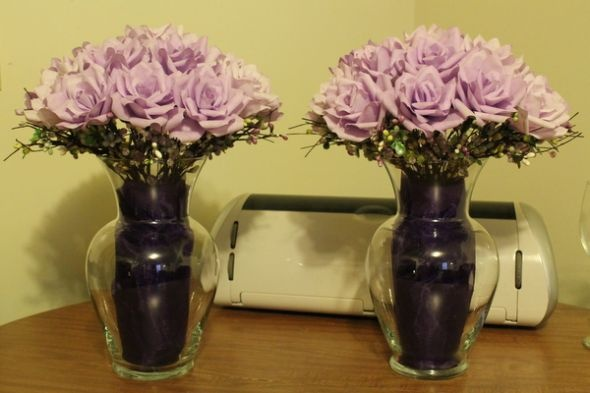 Altar Decor :  wedding altar decorations ceremony coffee filter flowers diy flowers green paper flowers purple IMG 1842