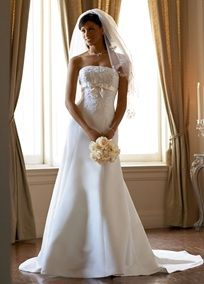 Satin trumpet gown with beaded metallic lace, satin empire band with bow, and lace-up back.   Chapel train. Available in Ivory/Champagne.  Fully lined. Back zip. Imported polyester.  Dry clean only.: David S Bridal, Satin Trumpet, Wedding Dressses, Metallic Lace, Davids Bridal, Wedding Ideas, Wedding Dresses, Davidsbridal