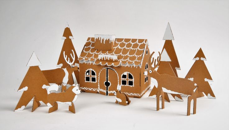 Cardboard house winter decor