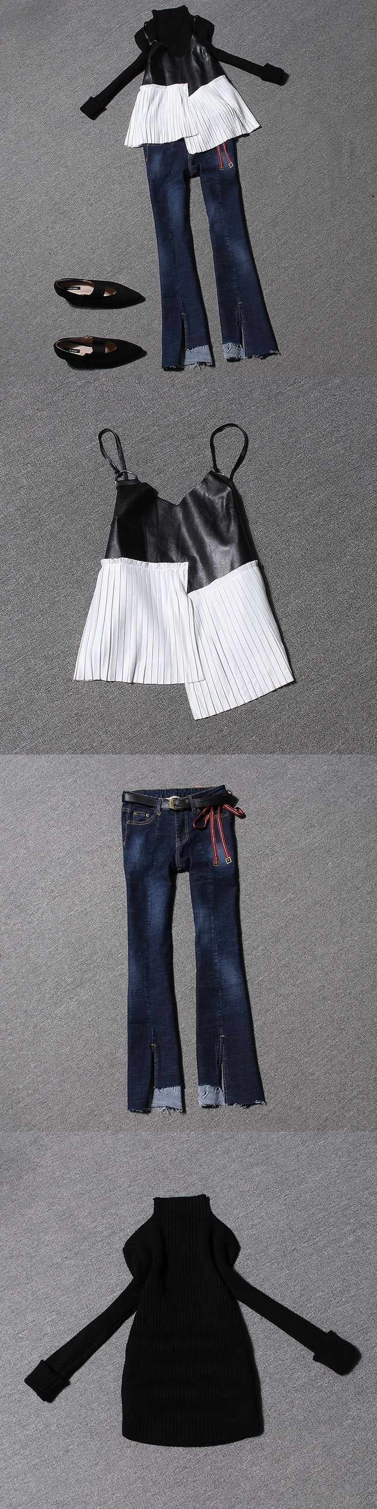Europe three piecs suit 2017  Pu pleated leather  vest + stitching jeans + sweater suit female DYU9853