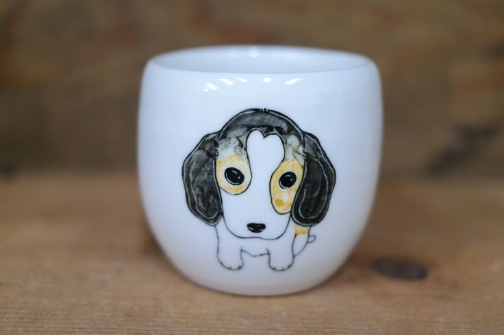 Hand painted animal cup - Cute cup -dog cup- unique cup -  Beagle dog small cup by CreativeStoneCera on Etsy