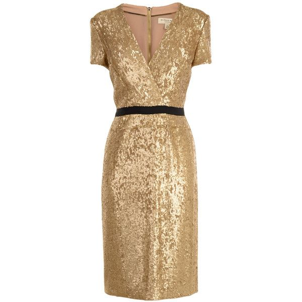 BURBERRY LONDON Sequin V Neck Dress ($855) ❤ liked on Polyvore featuring dresses, vestidos, burberry, short dresses, gold, v neck dress, mini dress, midi dress and sequin midi dress