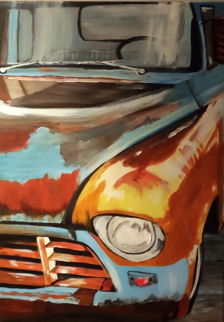 Gema Silva Acrílico ORIGINAL 50 x 70 cms Camioneta
