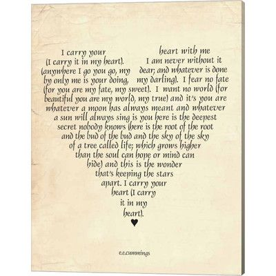 You'll love the I Carry Your Heart Canvas Print at Joss & Main - With Great Deals on all products and Free Shipping on most stuff, even the big stuff.