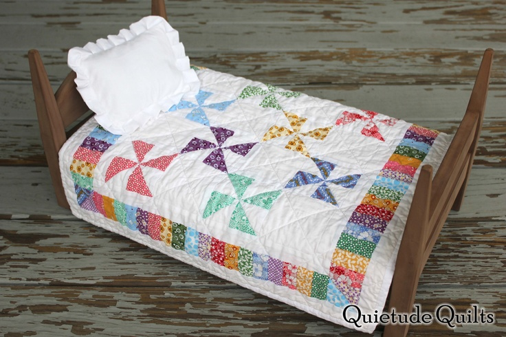Rainbow Pinwheels Quilt American Girl Doll Bedding