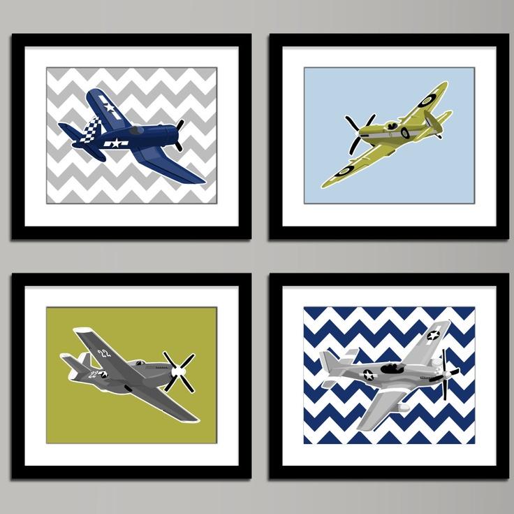 Boys airplane nursery art - WW 2, set of 4, vintage airplanes -, art for boys wall art, boys nursery art. $45.00, via Etsy.