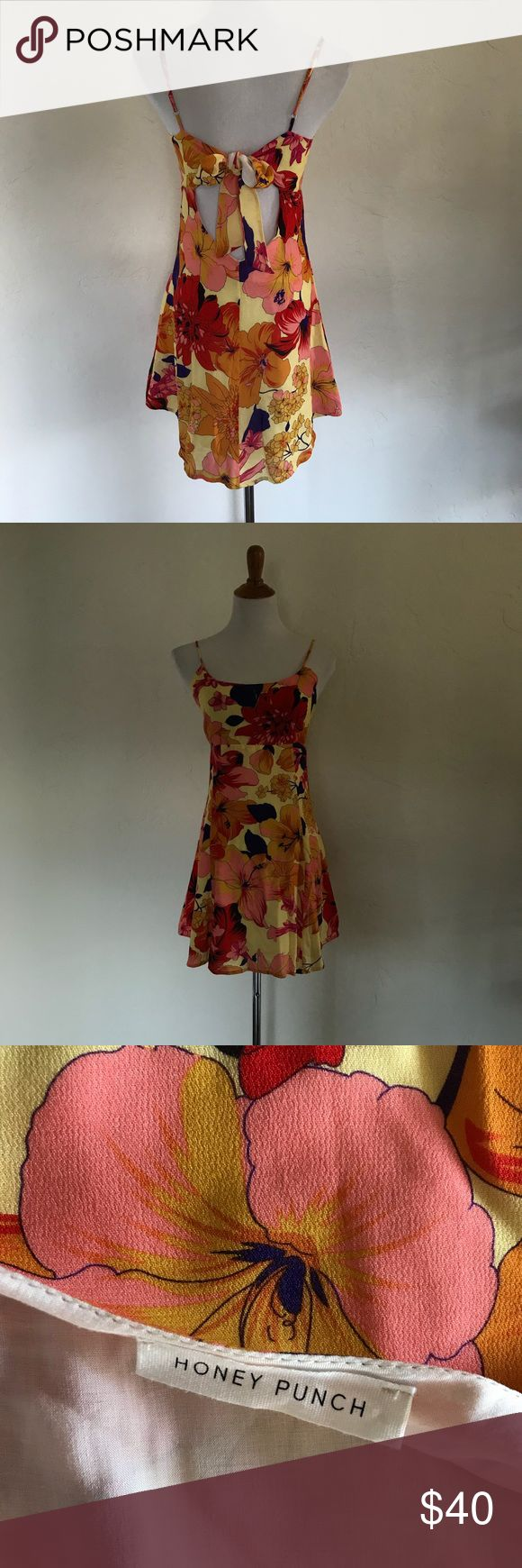 Hawaiian print dress Adjustable straps fully lined. Great for upcoming season. Excellent condition Honey Punch Dresses Mini