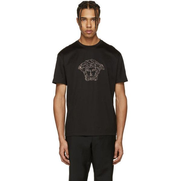 Versace Black Studded Medusa T-Shirt (€285) ❤ liked on Polyvore featuring men's fashion, men's clothing, men's shirts, men's t-shirts, black, mens studded shirt, versace mens shirt, mens short sleeve shirts, mens short sleeve t shirts and versace mens t shirt