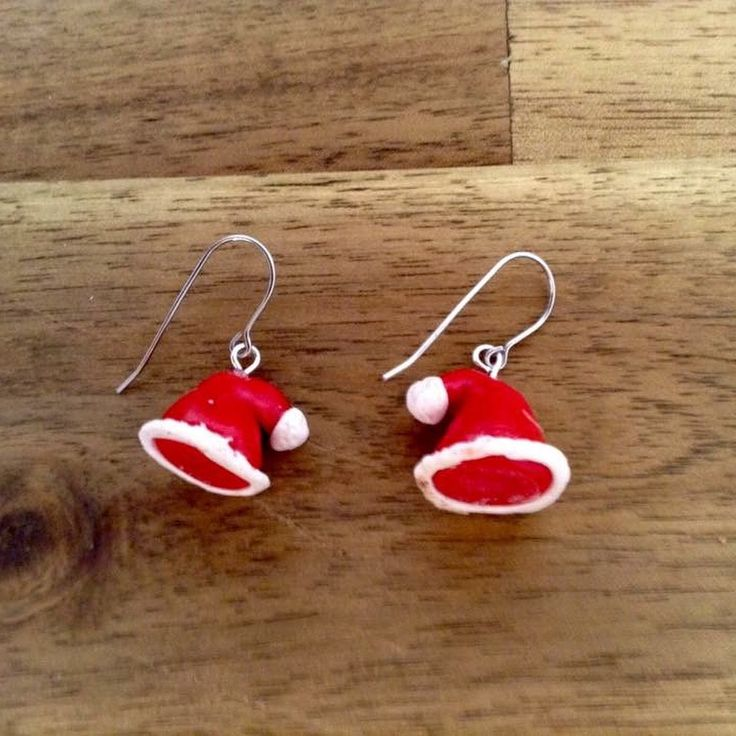 Santa hat handmade polymer clay stud earrings with hypoallergenic surgical stainless steel. #29jewel #Handmadeearrings #christmasjewellery #Christmas2017 #etsy