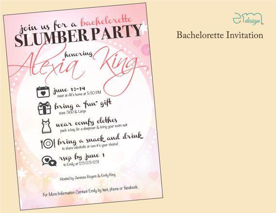 Girls Slumber Party Bachelorette Party Invitation