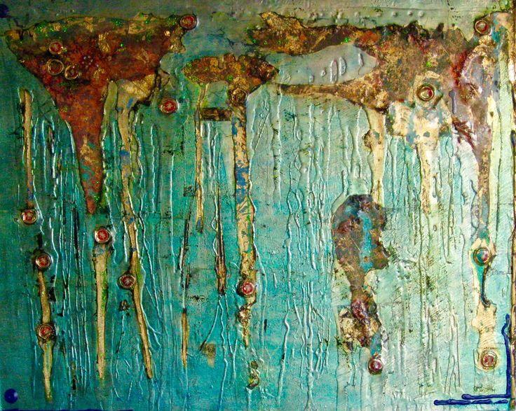 Demi McLeod 'CHEERS FALLEN ANGEL' mixed media on canvas 100 x 80 cm