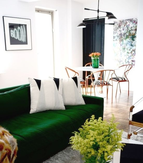 Green Living Room With Art Emerald