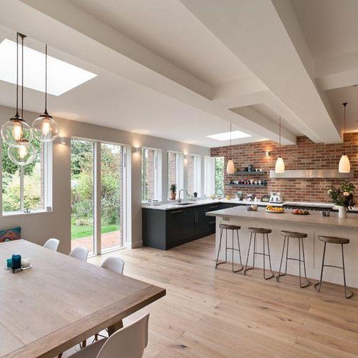 99 Rustic Wood Floor Ideas For Amazing Kitchen Open Plan Kitchen Dining Living Open Plan Kitchen Diner Open Plan Kitchen Living Room