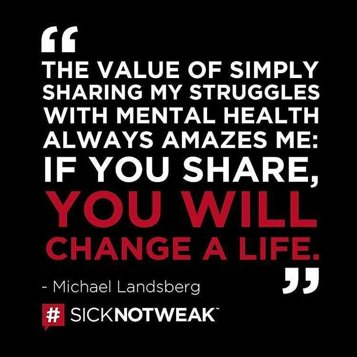 "@Regrann from @sicknotweak -  Sharing your #MentalHealth story can change a life. What's your story? Head to www.SickNotWeak.com for stories videos inspiration and more.  #SickNotWeak ""The value of simply sharing my struggles with mental health always amazes me: If you share you will change a life."" - Michael Landsberg  #MondayMotivation #Inspiration #Quotes #QOTD #SickNotWeak #MentalHealth #MentalIllness #MentalHealthAwareness #HelpIsContagious #IamNotAshamed #BellLetsTalk #WeRListening…"