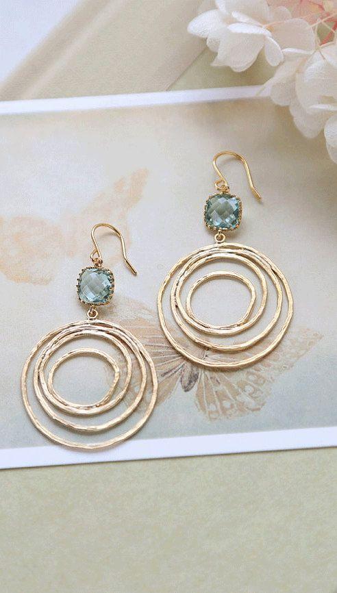 Aquamarine Blue Glass Gold Swirl Hoop Earrings, Gold Circle, Modern Everyday Earrings, Boho Chic Bohemian Hoop dangle Earrings by LeChaim www.etsy.com/shop/LeChaim