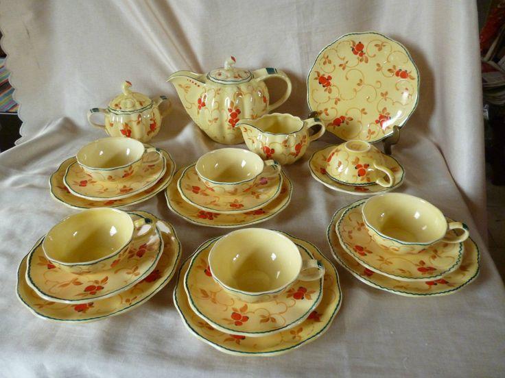 Ditmar Urbach Art Deco prachtvolles Teeservice handgemalt Schlickermalerei