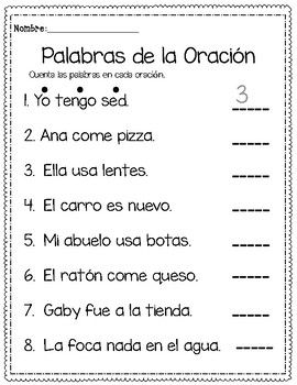 Counting Words In Spanish Cuenta Las Palabras De La Oracion By Learning Palace Learning Spanish Words Spanish Words