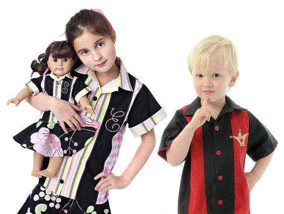 Boy's and Girl's Retro Bowling Shirt by scientificseamstress