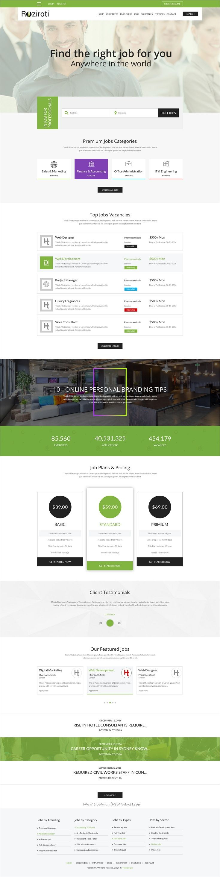 RoziRoti is professional #PSD template for #job board #portal websites download now➩  https://themeforest.net/item/rozi-roti-job-board-psd-template/19278986?ref=Datasata