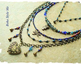 Gioielli della Boemia, mezzanotte a strati blu collana di perline, Hippie moderno, urbano Gypsy, Boho Chic, stile Boho Me, Kaye Kraus