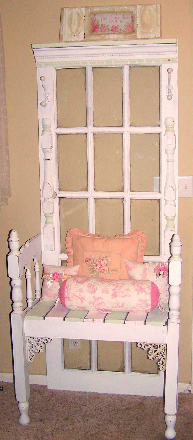 door adds a great touch to this repurposed bench...looks like a throne - for Loverboy's Mother of all Shops - especially after we break in and redecorate it to look shabby chic??? LOL!!!!!