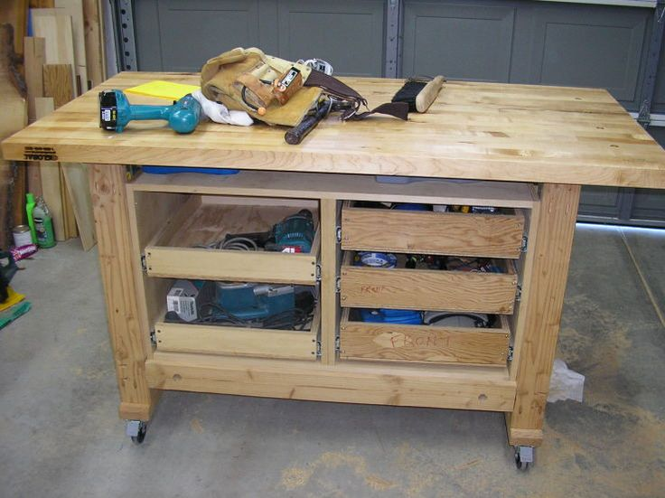 work bench with drawers that is still functional for clamping and strapping - Rolling Workbench