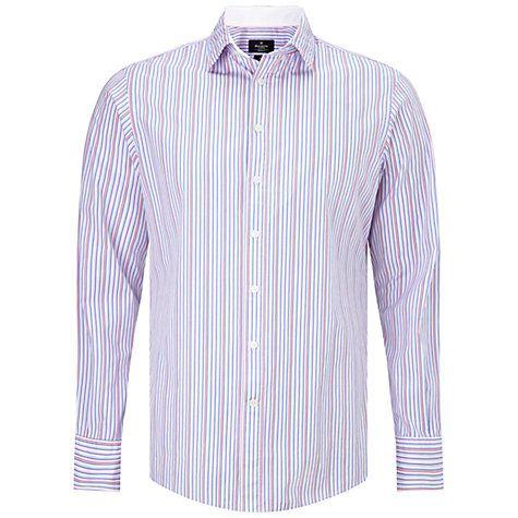 Buy Hackett London Lolly Stripe Shirt, Blue/Pink/White Online at johnlewis.com