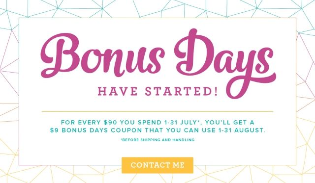 Has your wish list grown since the new catalogue came out? I know mine has! I was wondering how I am going to afford to pay for those products that I must have! Thank goodness Stampin' Up! is running the fabulous Bonus Days promotion again for the whole month of July!  It's a fabulous way …