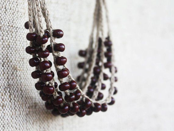 Linen necklace crocheted with brown opaque glass seed beads Rustic Simple Elegant Made to Order Free shipping oht - LoveItSoMuch.com