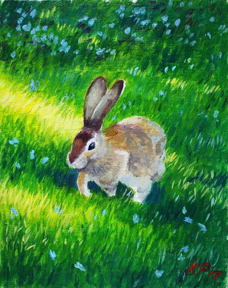 🌿 Заяц 🌿  (Холст на подрамнике, масло. Размеры 20*25) Написано по фотографии.