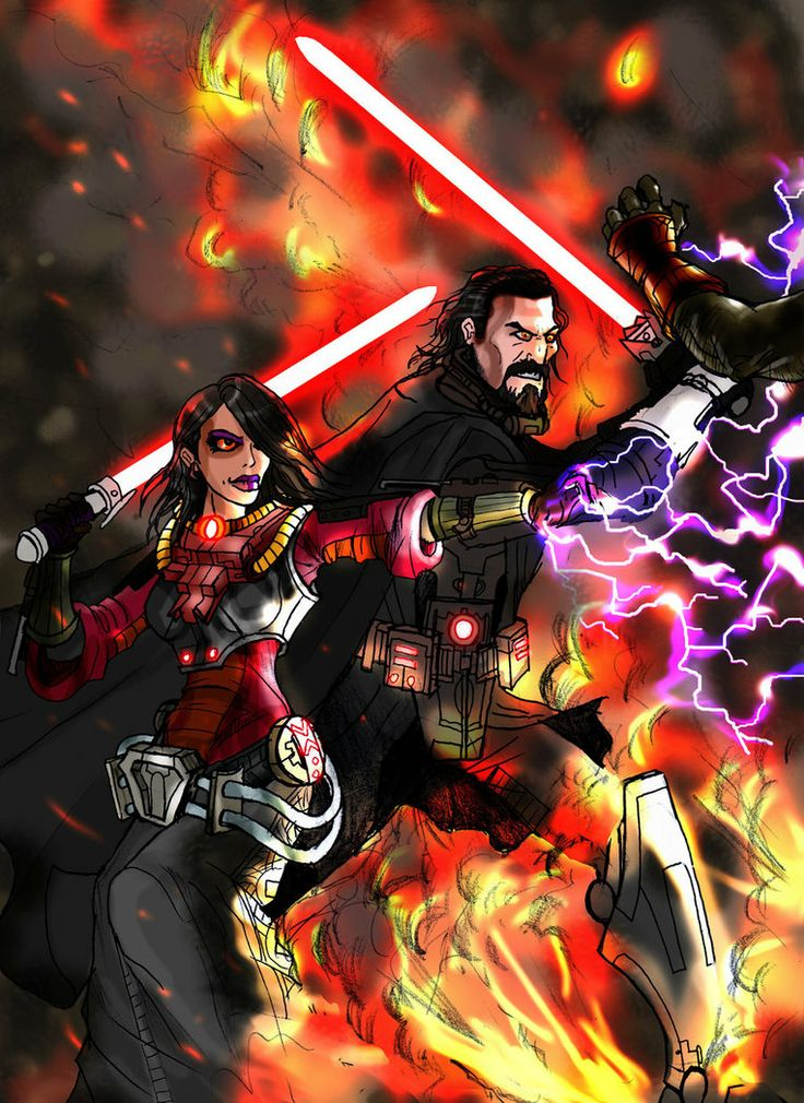 Sith Warrior Killing Mobs Alongside Jaesa Willsaam His Apprentice