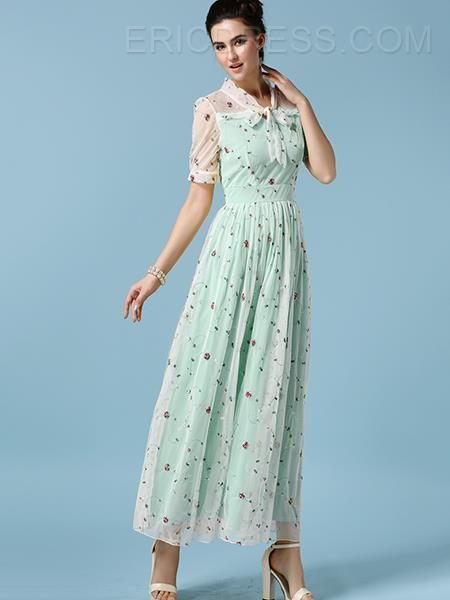 Ericdress Mesh Patchwork Floral Print Expansion Long Maxi Dress 6