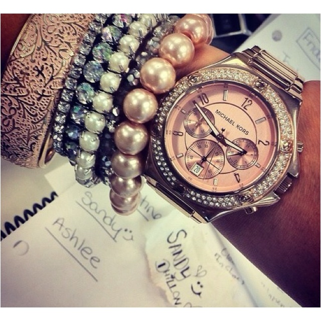 Arm candyFashion, Style, Michael Kors Watches, Accessories, Arm Candies, Michaelkors, Arm Parties, Rose Gold, Bling Bling