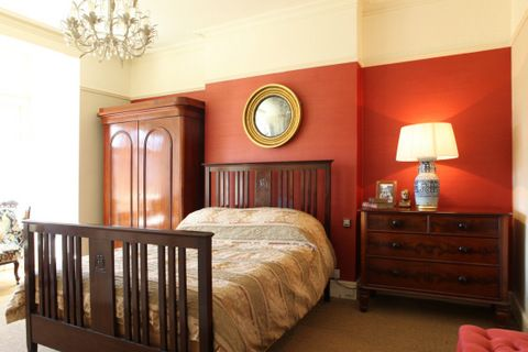The Master bedroom with an Edwardian bed.