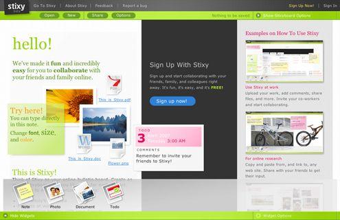 Stixy.Web 2 0, Sticky Notes,  Internet Site,  Website, Stixi, Web Site, Bulletin Boards, Note Site, 2 0 Sticky