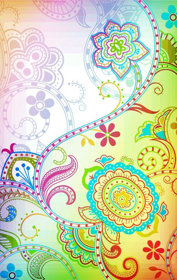 Pretty floral paisley iphone wallpaper desktop wallpaper for Paisley wallpaper