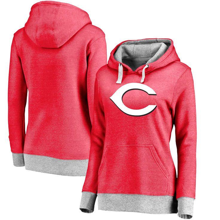 Cincinnati Reds Women's Horizon Pullover Hoodie - Heathered Red - $51.99