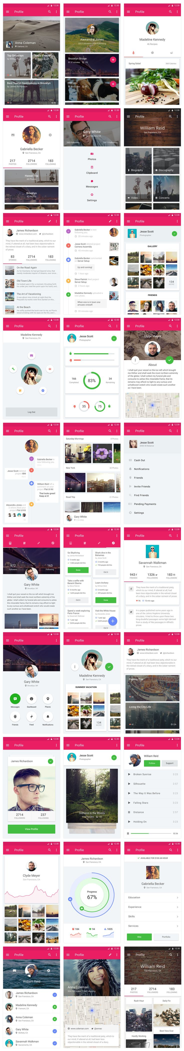 Material Design UI Kit - Profiles #mobile #UI #materialdesign
