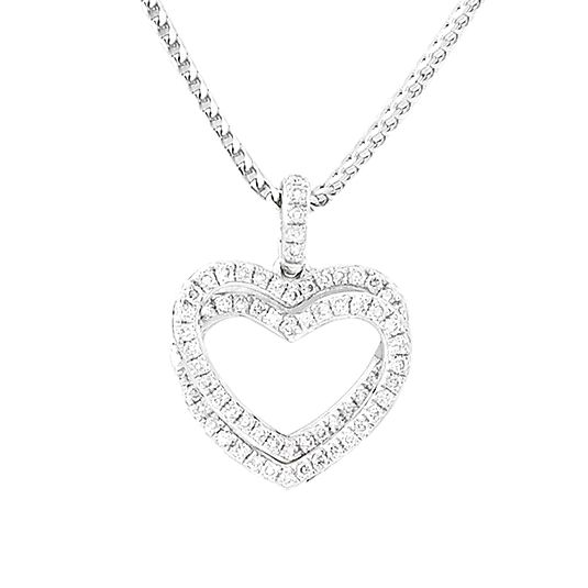 9 CARAT WHITE GOLD DIAMOND PENDANT AND CHAIN