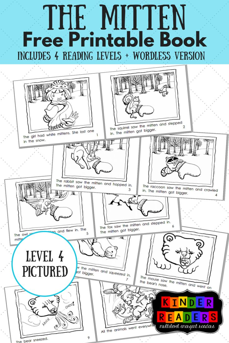 The Mitten Multilevel KinderReaders Printable Book | A to Z Teacher Stuff Printable Pages and Worksheets