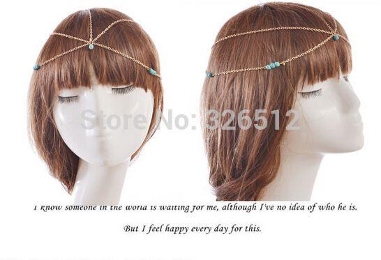 Аксессуары для волос шарм готический чешские бохо бирюзовый бусины повязка на голову лоб цепи девушки мода головной убор волос ювелирных изделий цепи