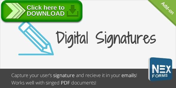 [ThemeForest]Free nulled download Digital Signatures for NEX-Forms from http://zippyfile.download/f.php?id=41858 Tags: ecommerce, contact forms, digital signature, feedback forms, form, form builder, form creator, form design, form widget, forms, jquery forms, signature, wordpress form builder, wordpress form creator, wp form builder, wp form creator