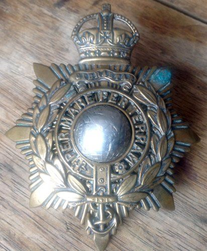 Original WW1 Royal Marines Gibraltar Helmet Plate Cap Badge