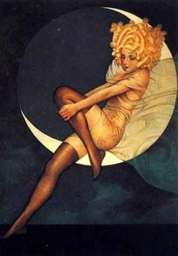 Flapper in the Moon - Blue Moon, Full Fashioned, Silk Stockings - Vintage Paper Moon Postcard. Illustration by Gustaf Tenggren, 1925