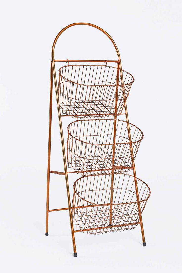 Three-Tier Basket Shelf in Copper