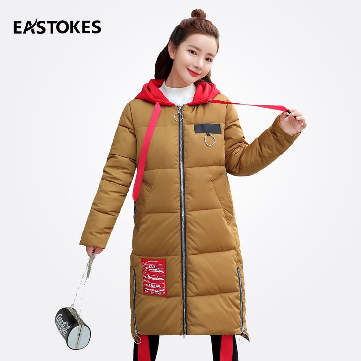 2017 Winter Women Jackets With Red Hoodie Ladies Long Hooded Coats Ribbons Parkas Female Winter Outfits Slim Fit Outerwear #WinterOutfitsCasual