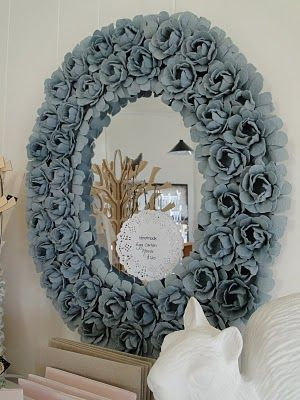 DIY Egg Carton Flower Mirror Directions:   For materials and directions please go to Better Homes & Gardens How to Make an Egg Carton Flower Mirror