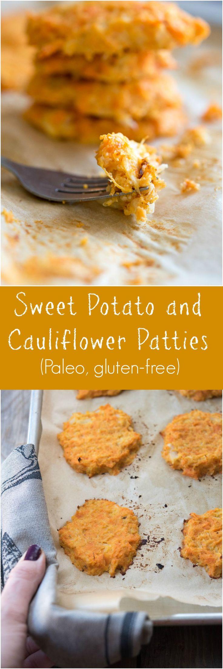Sweet Potato and Cauliflower Patties - a Paleo and gluten-free side dish recipe on Thriving On Paleo