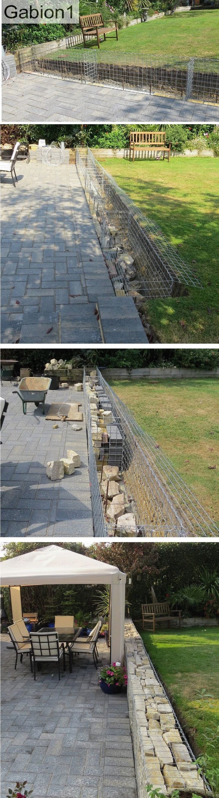 Gabion garden wall using 1800 x 675 x 375mm gabion baskets http://www.gabion1.co.uk
