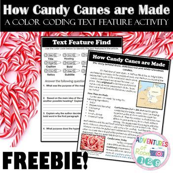 **Like these? Check out more HERE!**Students are always in need of more text feature practice, so let's put a fun twist on it! Check out this ready to print, color coding, text feature printable where students read an engaging passage about how candy canes are made.